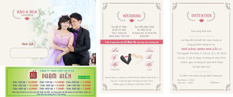 Thiệp cưới in hình QH - 08
